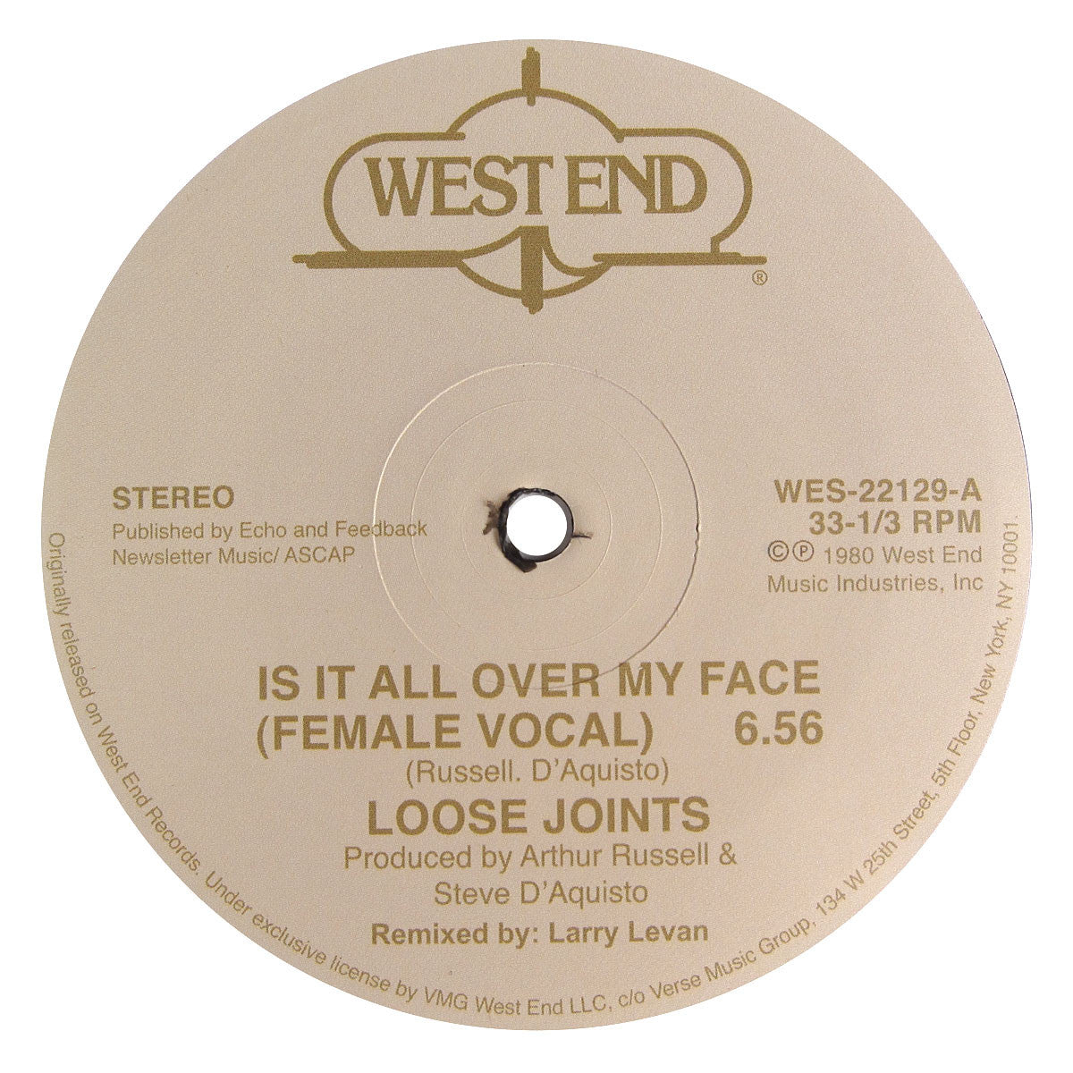 "Loose Joints: Is It All Over My Face Vinyl 12"" B"