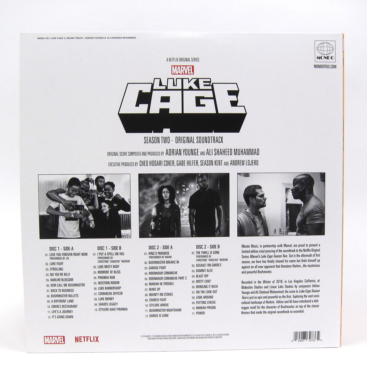 Adrian Younge & Ali Shaheed Muhammad Luke Cage Season 2 Soundtrack (Colored  Vinyl) Vinyl 2LP