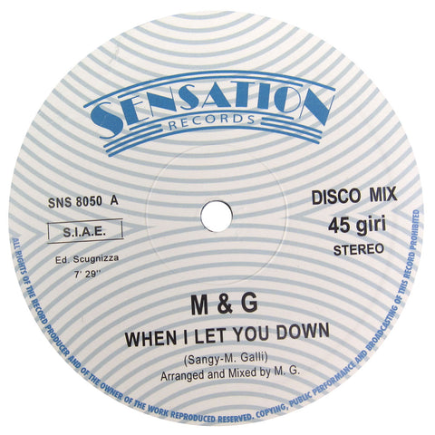 M & G: When I Let You Down Vinyl 12""