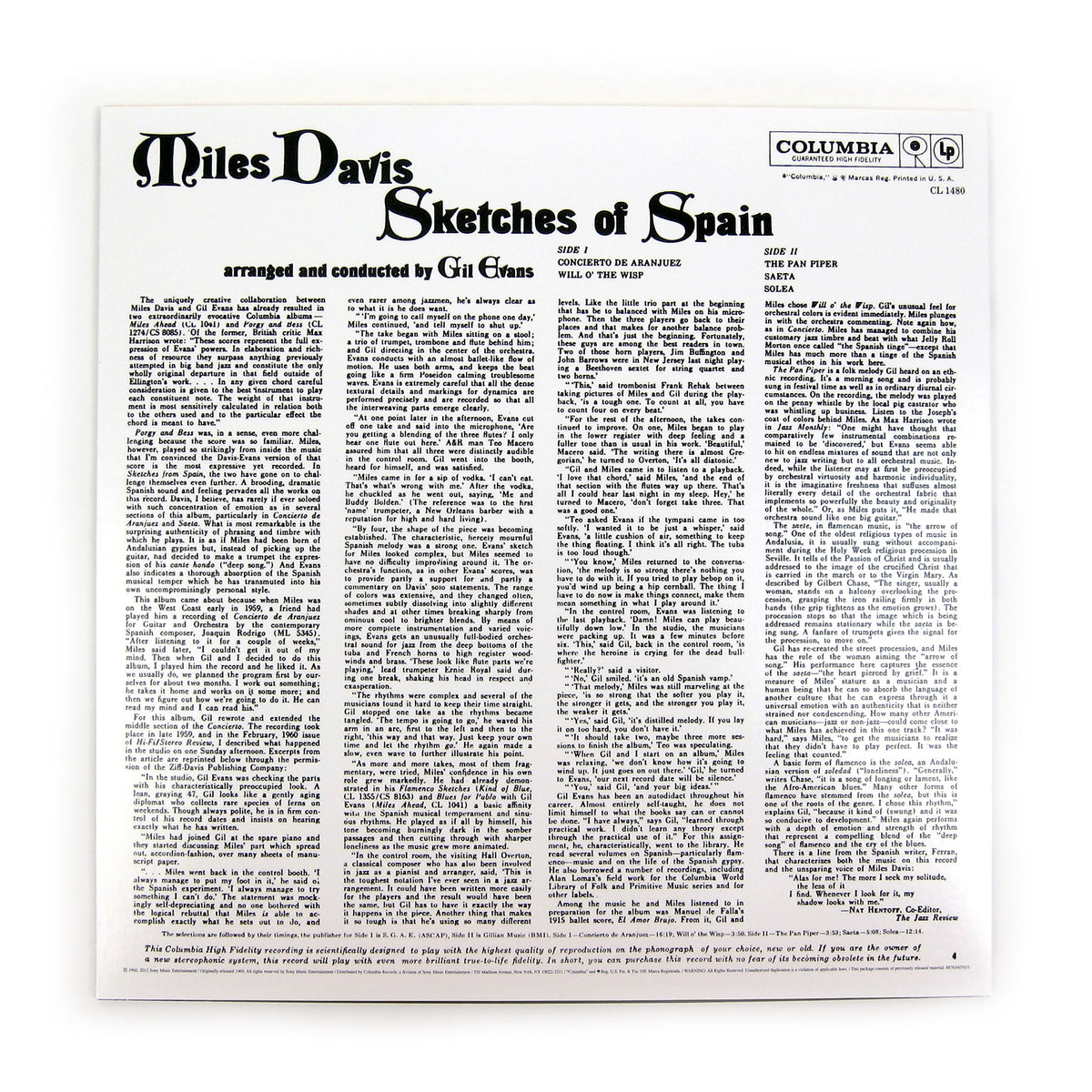Miles Davis: Sketches Of Spain (Mono 180g) Vinyl LP