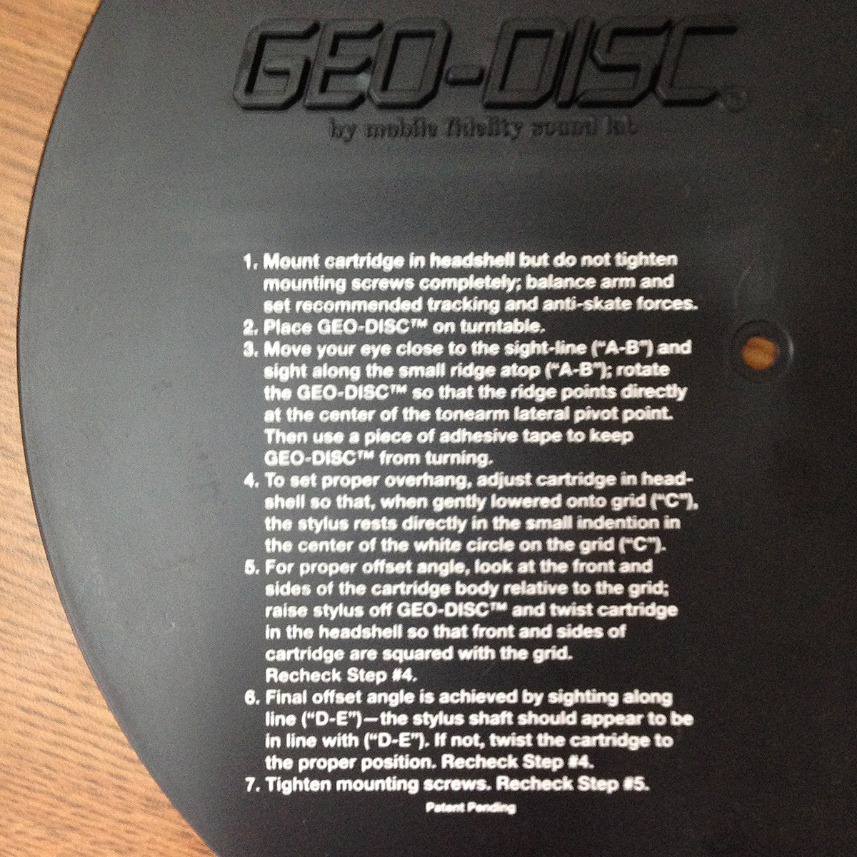 Mobile Fidelity: Geo-Disc Instructions