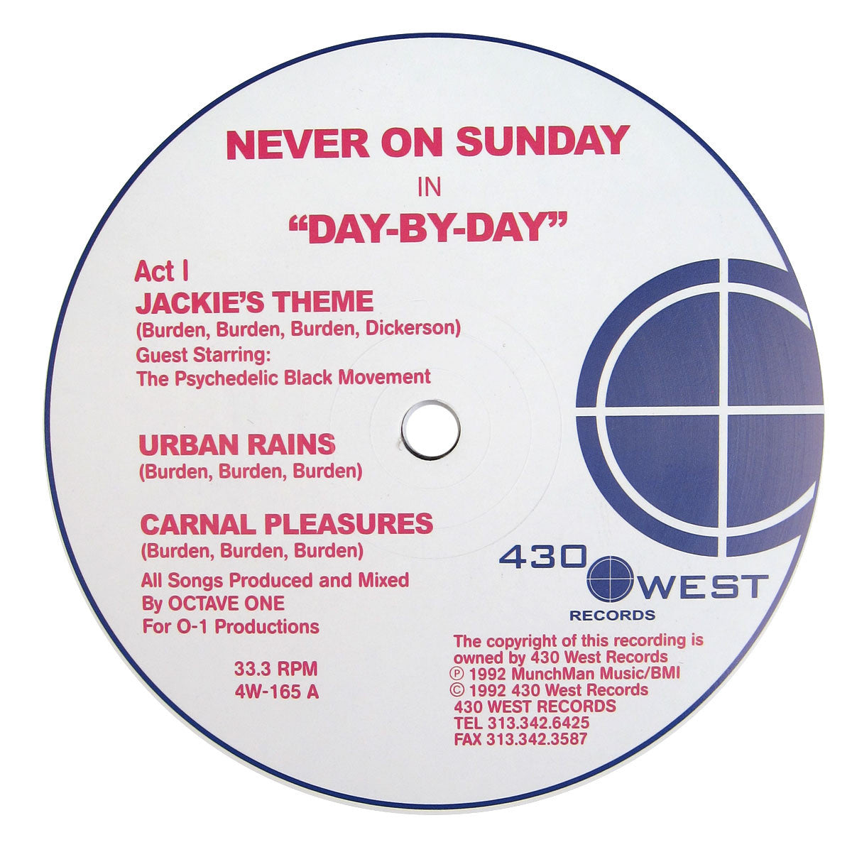 Never On Sunday: Day-By-Day (Octave One) Vinyl 12""