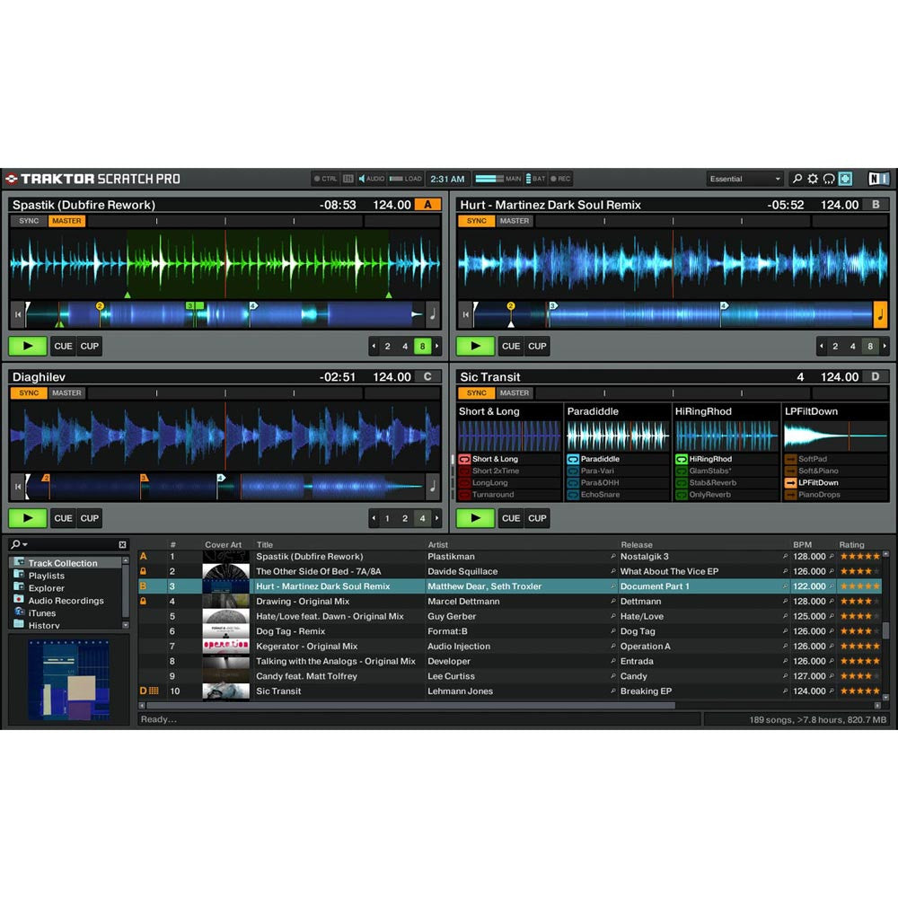 Native Instruments: Traktor Scratch A10 Digital DJ System detail screen