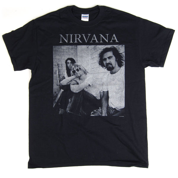 Nirvana: B&W Sitting Photo Shirt - Black