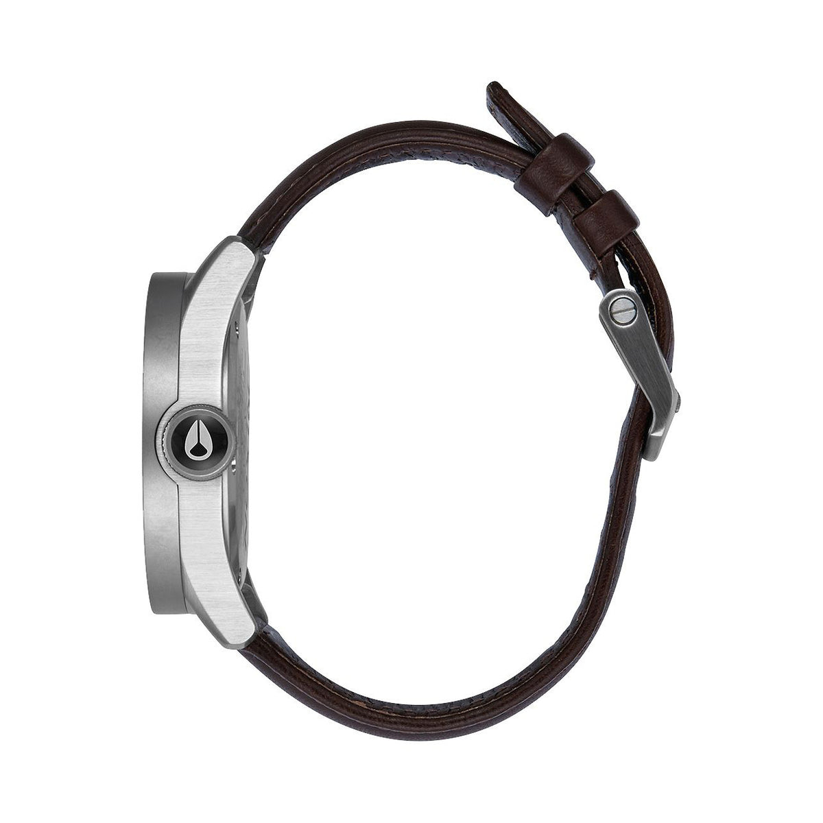 Nixon: Safari Leather Watch - Silver / Brown