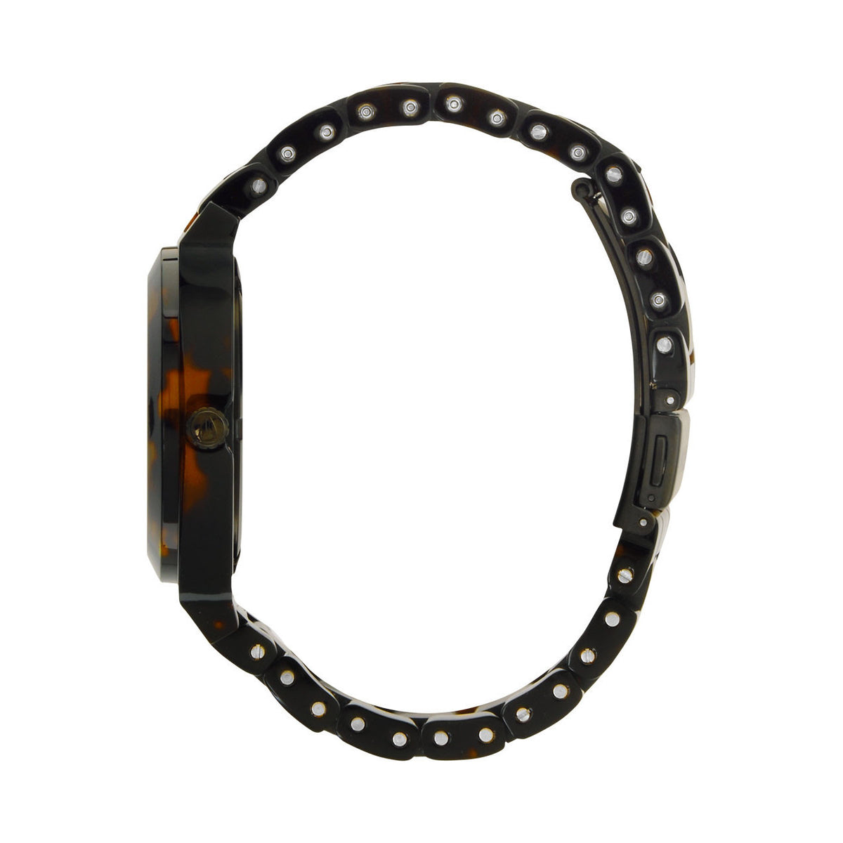Nixon: Time Teller Acetate Watch - Matte Black / Dark Tortoise side