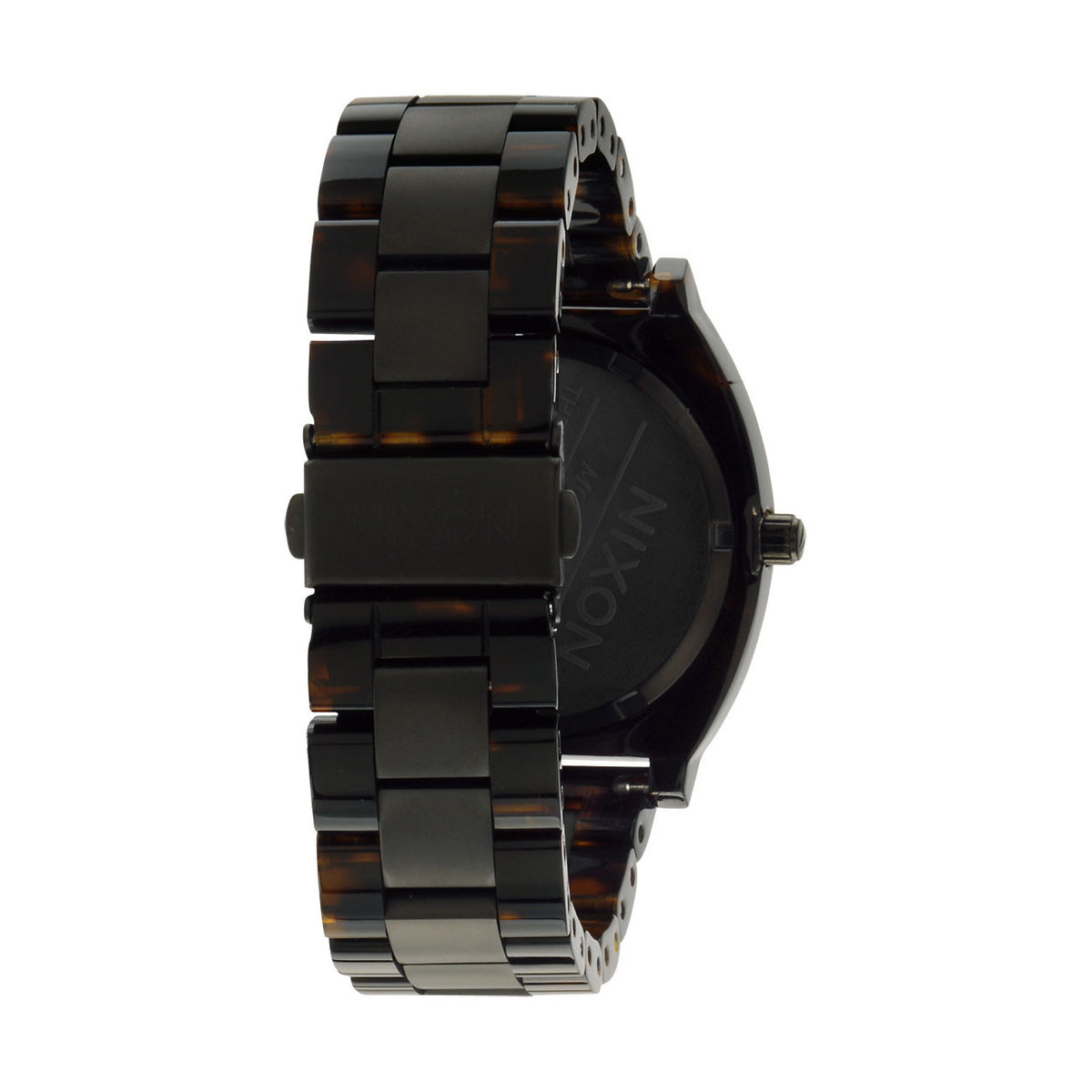 Nixon: Time Teller Acetate Watch - Matte Black / Dark Tortoise back