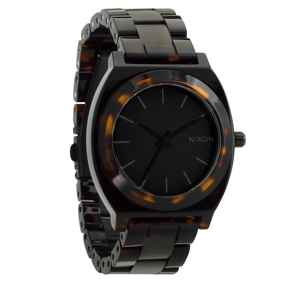 Nixon: Time Teller Acetate Watch - Matte Black / Dark Tortoise