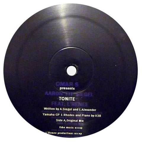"Omar-S: Tonite (Presents Aaron ""FIT"" Siegel) Vinyl 12"""