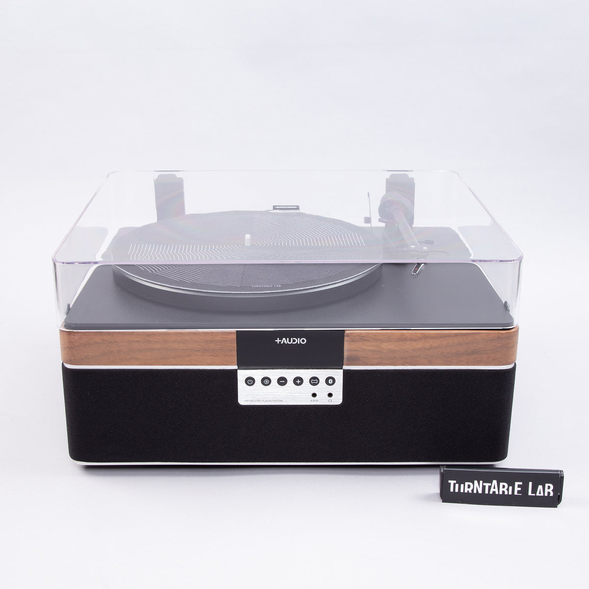 Plus Audio: The +Record Player Turntable + Integrated Audio System w/Bluetooth - Walnut