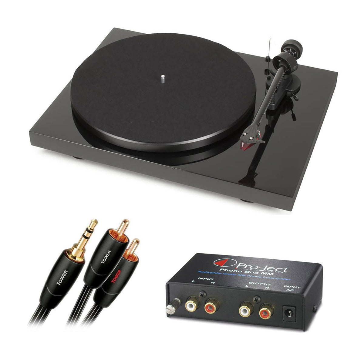 Pro-Ject: Debut Carbon DC Turntable + Phono Box MM Pre-Amp + Audioquest Interconnect Package (TTL Setup)