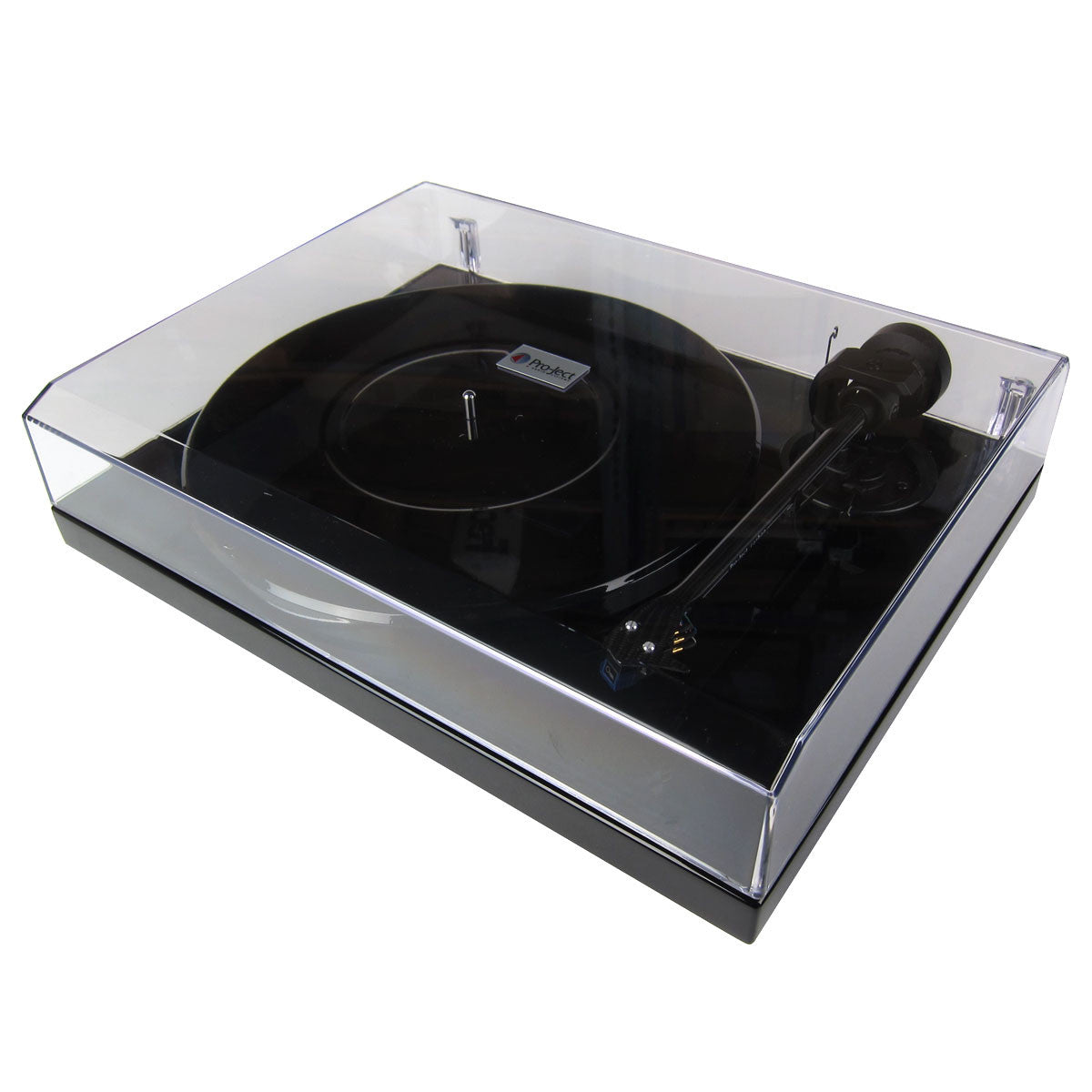 Pro-Ject: 1-Xpression Carbon Turntable / Oyster Cartridge - Piano Black dust cover closed