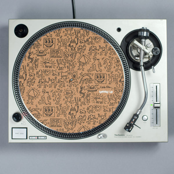 Turntable Lab: Keith Haring Cork Record Mat - Black - PRE-ORDER