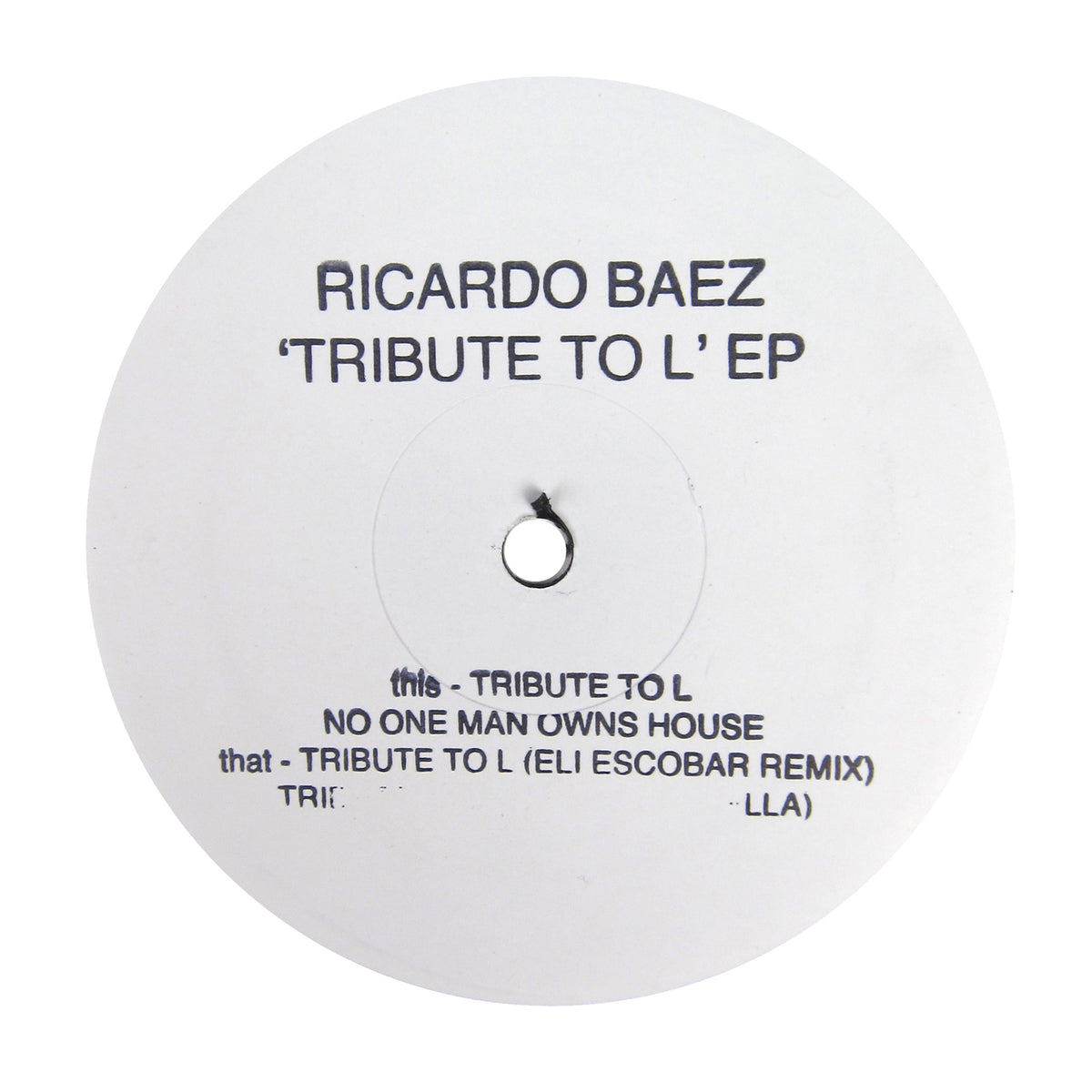 Ricardo Baez: Tribute To L (Eli Escobar) Vinyl 12""
