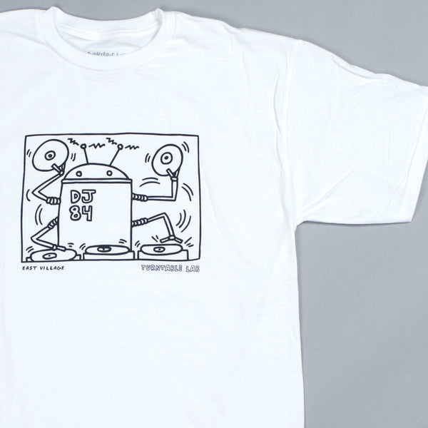 Turntable Lab: Keith Haring Robot DJ Shirt - White