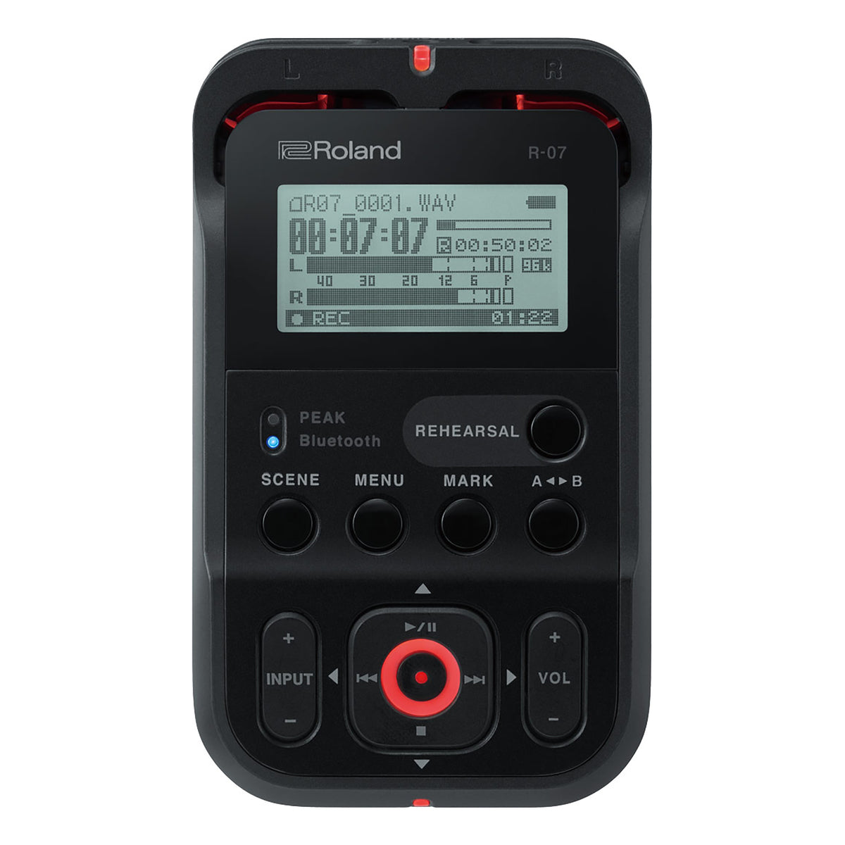Roland: R-07-BK High-Resolution Portable Audio Recorder - Black