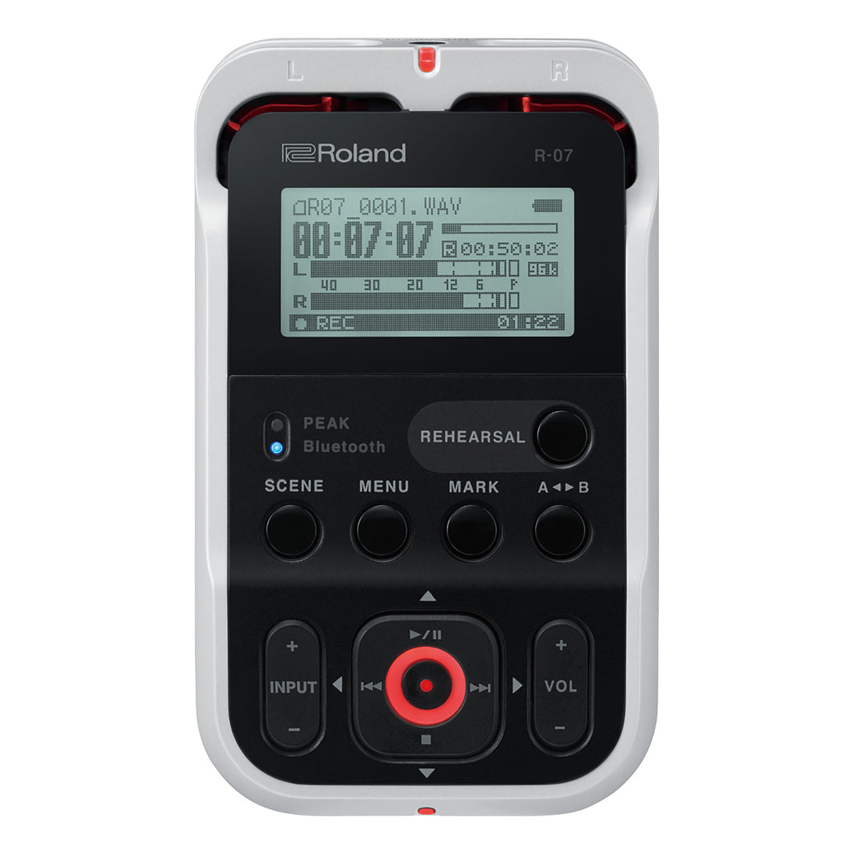Roland: R-07-WH High-Resolution Portable Audio Recorder - White