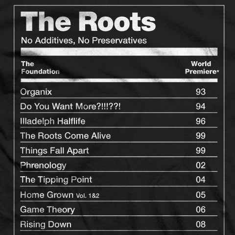 The Roots: No Preservatives Shirt - Black detail