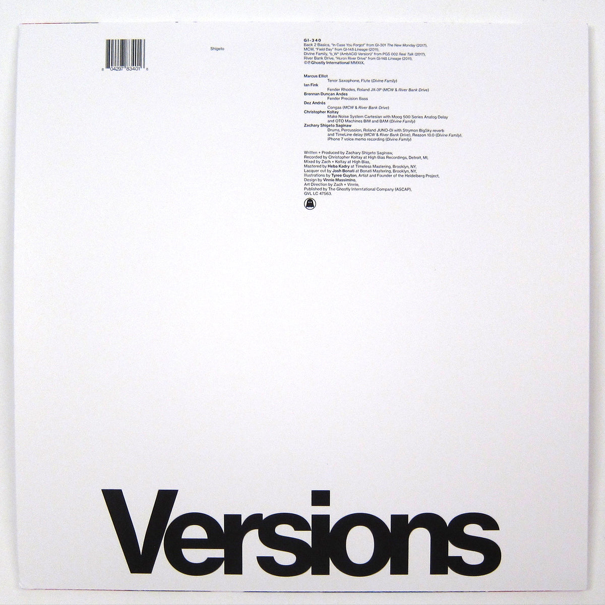 Shigeto: Versions Vinyl 12""