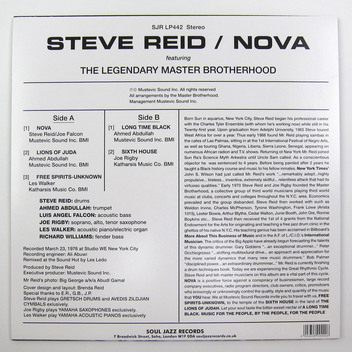 Steve Reid: Nova (Colored Vinyl) Vinyl LP