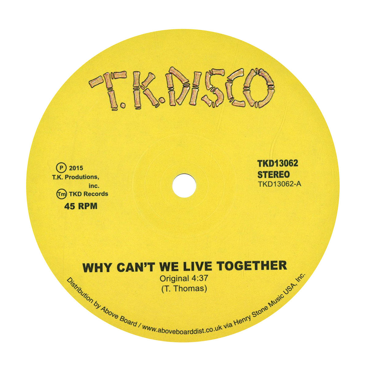 Timmy Thomas: Why Can't We Live Together (LNTG Rework) Vinyl 12""