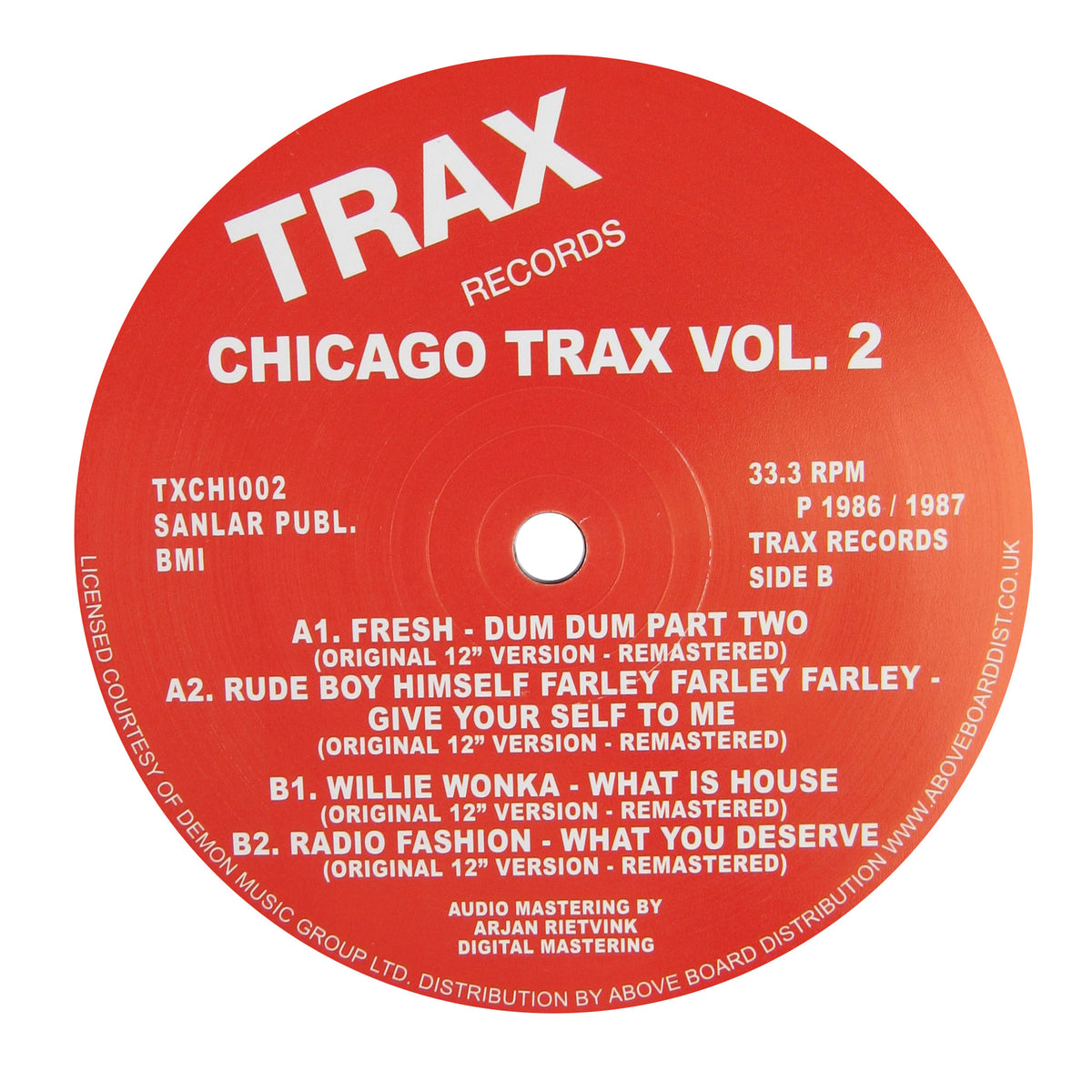 Trax: Chicago Trax Vol.2 Vinyl 12""