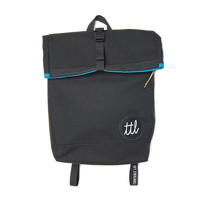 Turntable Lab: Roll-Top Backpack - Bold Condensed - Folded