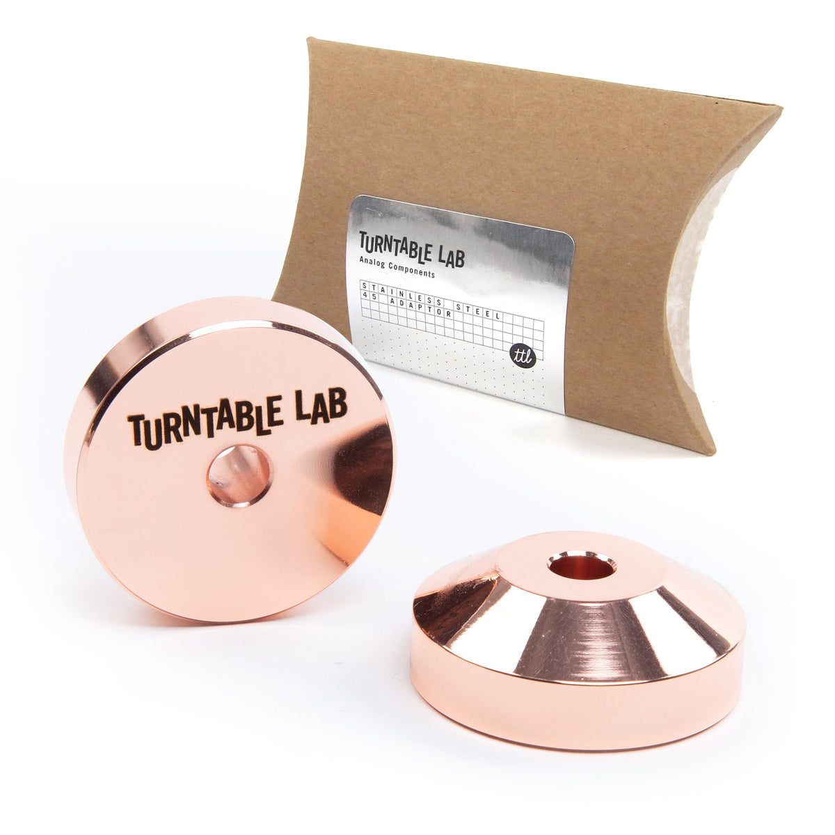 "Turntable Lab: Stainless Steel 45 Record Adaptor for 7"" Vinyl - Copper"