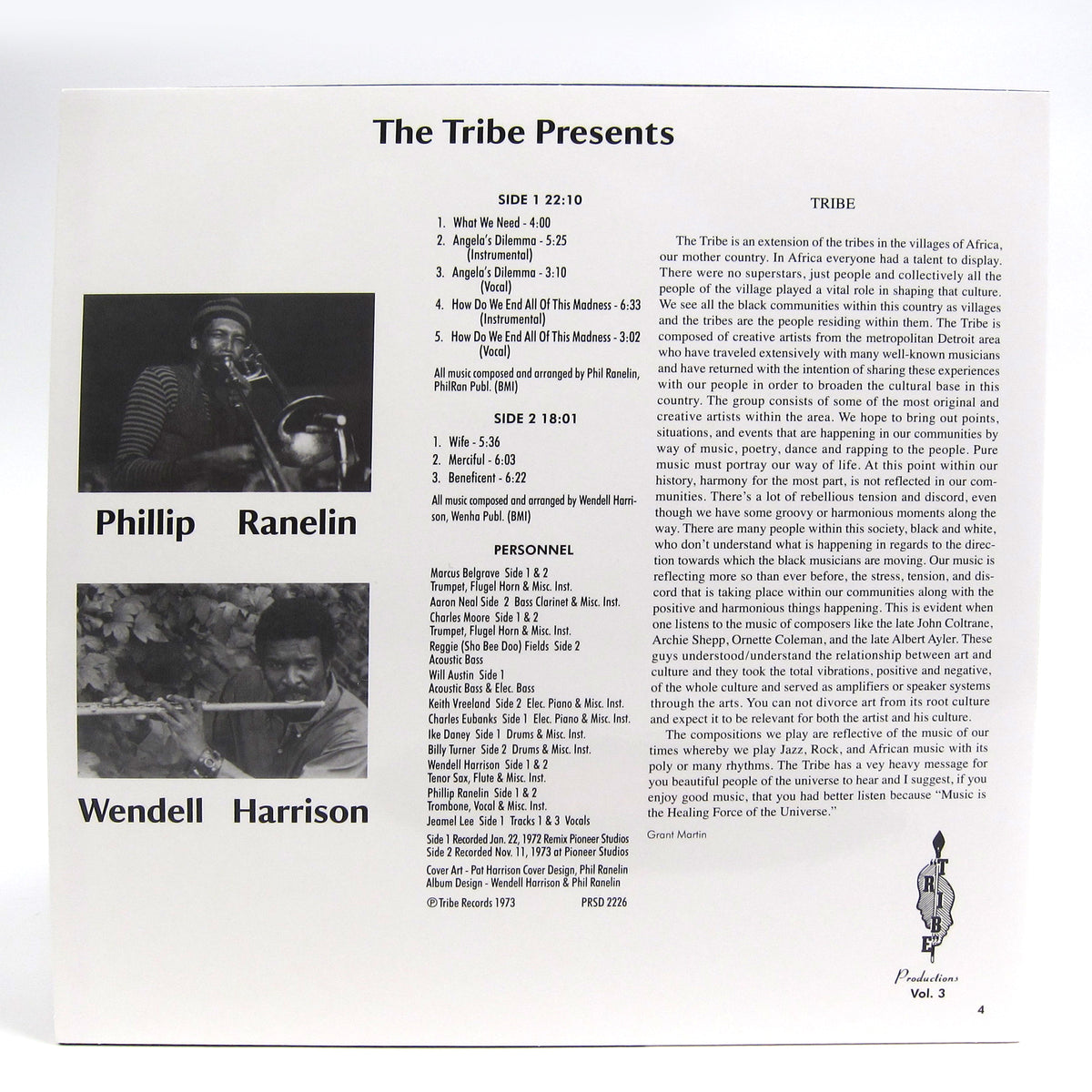 Wendell Harrison & Phillip Ranelin: Message From The Tribe (180g) Vinyl LP