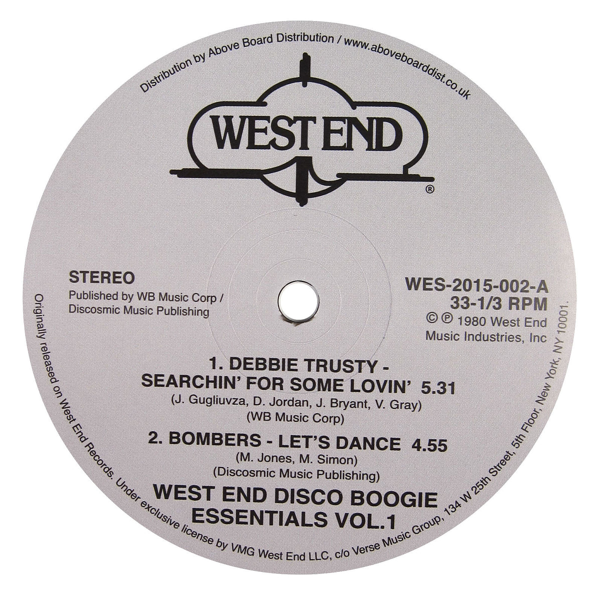 West End Records: Boogie Essentials Vol.1 (Bombers, Edna Holt) Vinyl 12""