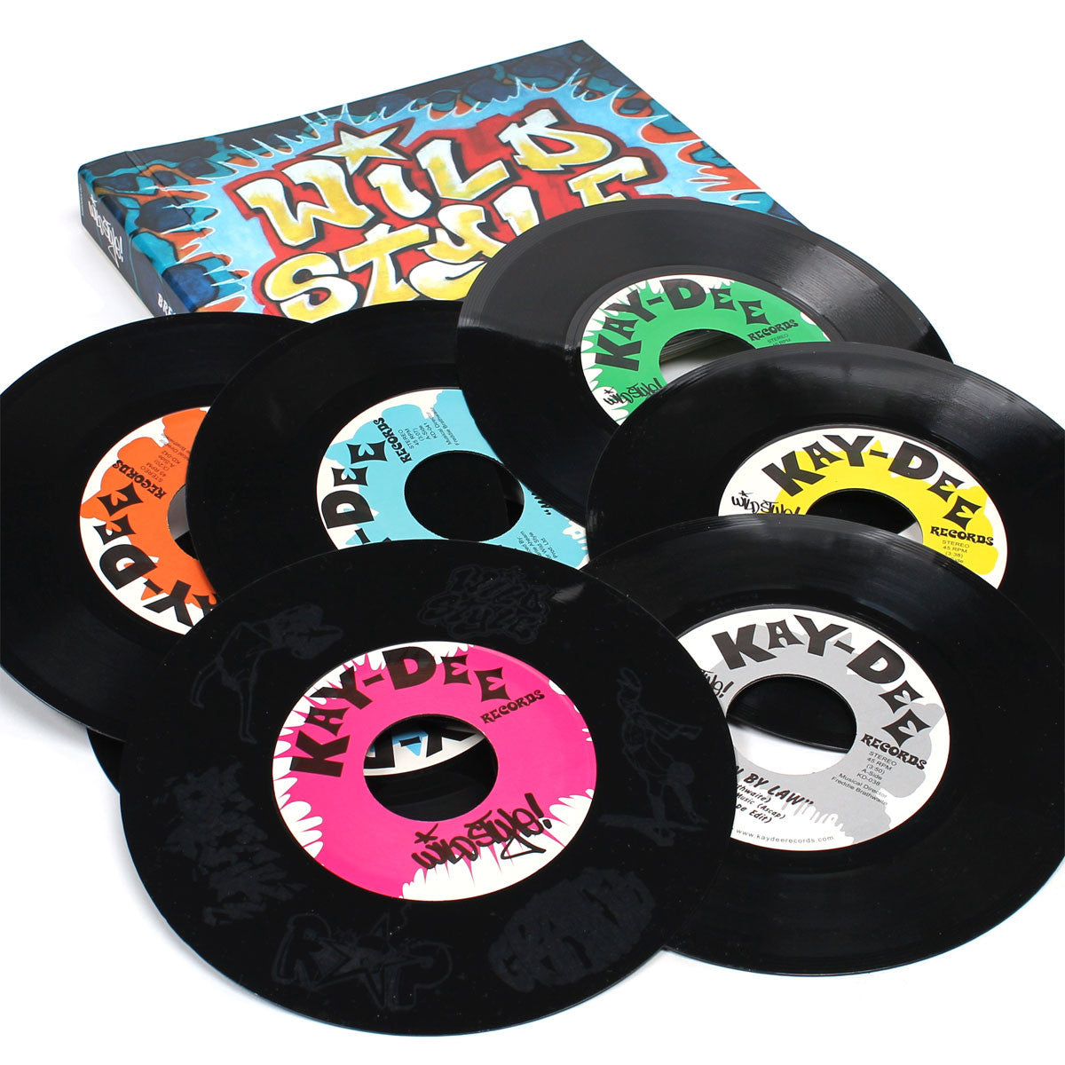 "Kenny Dope: Wild Style Breakbeats 7x7"" Vinyl + Book open page lay down detail"