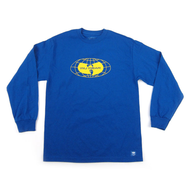 Wu Wear: Globe Logo Long Sleeve Shirt - Blue