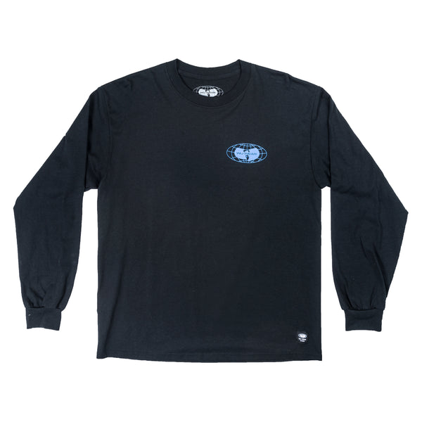 Wu Wear: Globe Logo Long Sleeve Shirt - Black