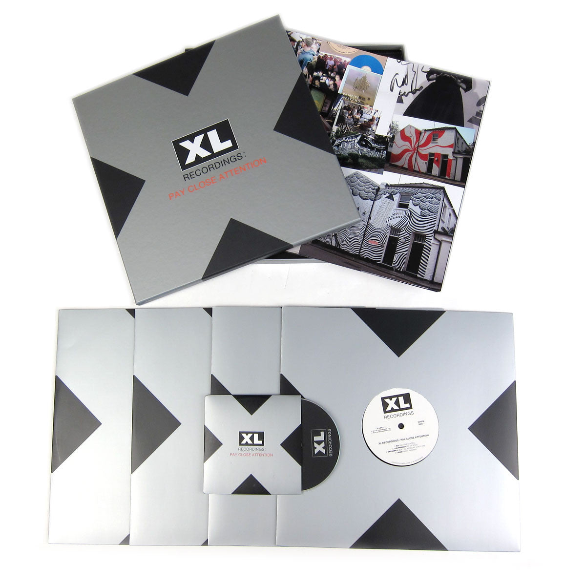 XL Recordings: Pay Close Attention Vinyl 4LP Boxset laydown