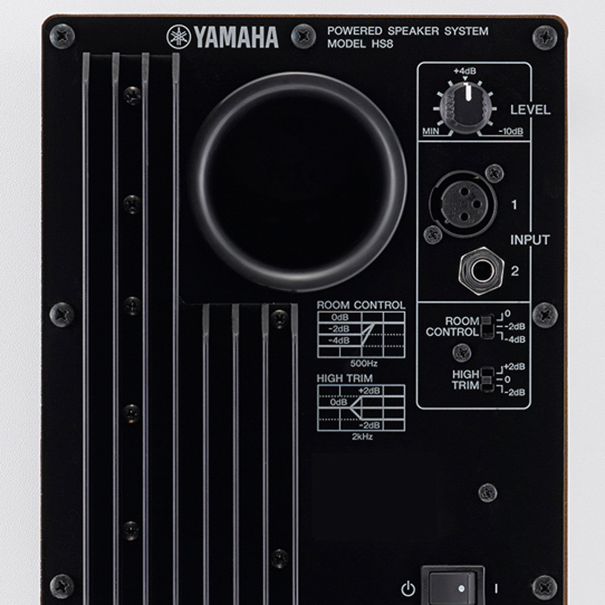 Yamaha: HS8 Active Monitor Speaker - White w/ Free Hosa XLR Cable back detail
