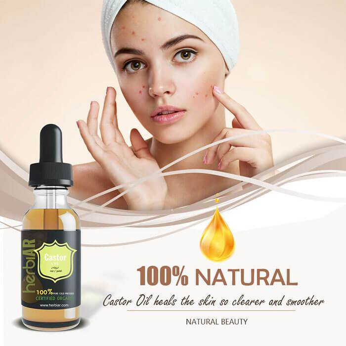 A lady is applying 100% natural castor oil on her face to get rid of acne and scars