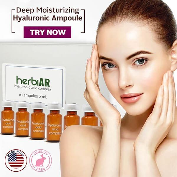Hyaluronic acid ampoules for deep moisturizing