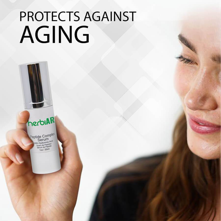 Peptide complex serum for protection against aging