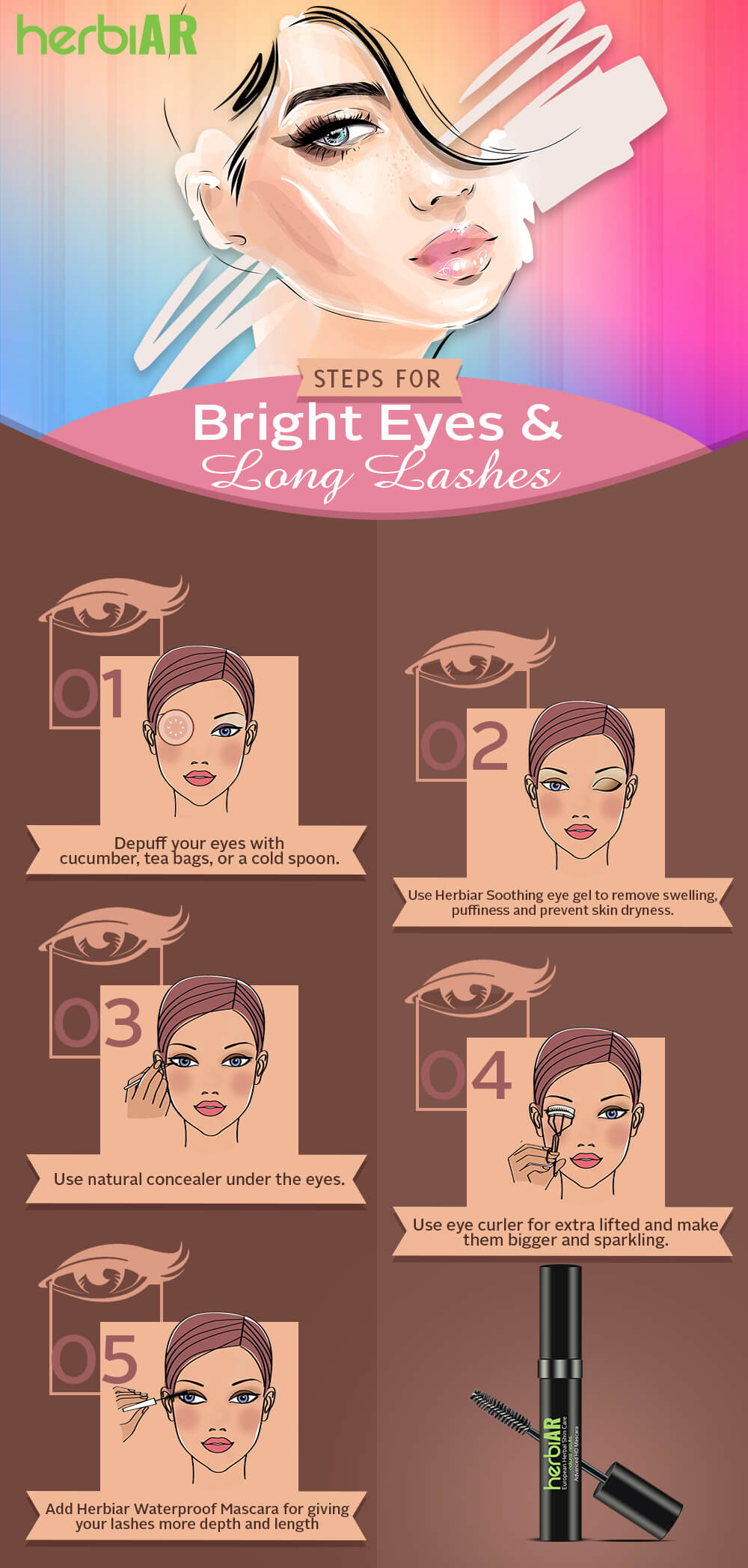 6 steps for bright eyes and long lashes
