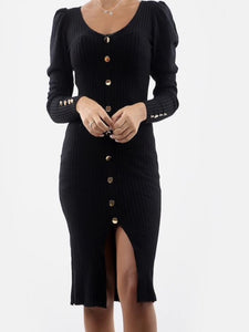 Aria Black Ribbed Button Front Knit Dress