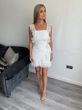 Load image into Gallery viewer, Maddie Lace Trim Wrap White Dress