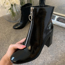 Load image into Gallery viewer, Alexa Black Patent Zip Front Boots