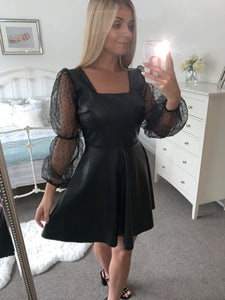 Abbey Faux Leather Skater Dress with Puff Sleeves