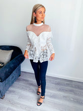 Load image into Gallery viewer, Sadie White Lace Peplum Top