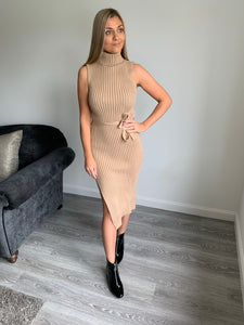 Olivia Ribbed Beige Jumper Dress