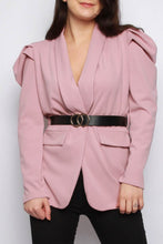 Load image into Gallery viewer, LILY BELTED RUCHED SLEEVE BLAZER