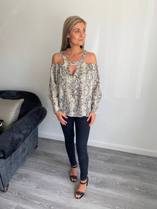 Terry Snake Print Off Shoulder Blouse