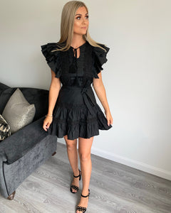 Felicity Black Lace Trim Ruffle Dress