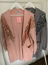 Load image into Gallery viewer, Freya Blush Sequin Longline Cardigan