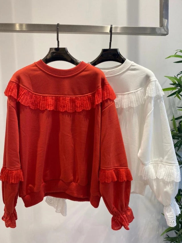 Daisy Orange Broderie Lace Sweatshirt